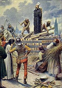 Mistr Jan Hus na hranici v Kostnici 1415 (obraz Kamila Vladislava Mutticha)