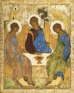 Nejsvětější trojice, zleva: bůh Syn (jako Ježíš), bůh Otec, a bůch Duch