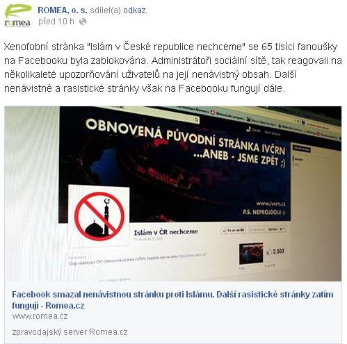 Faux-pas na webu i Facebooku sdružení Romea.