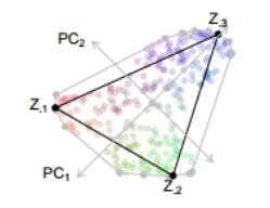 Ilustrace archetypální analýzy pro tři archetypy Z. (S. Seth, M. J. A. Eugster, 2014)