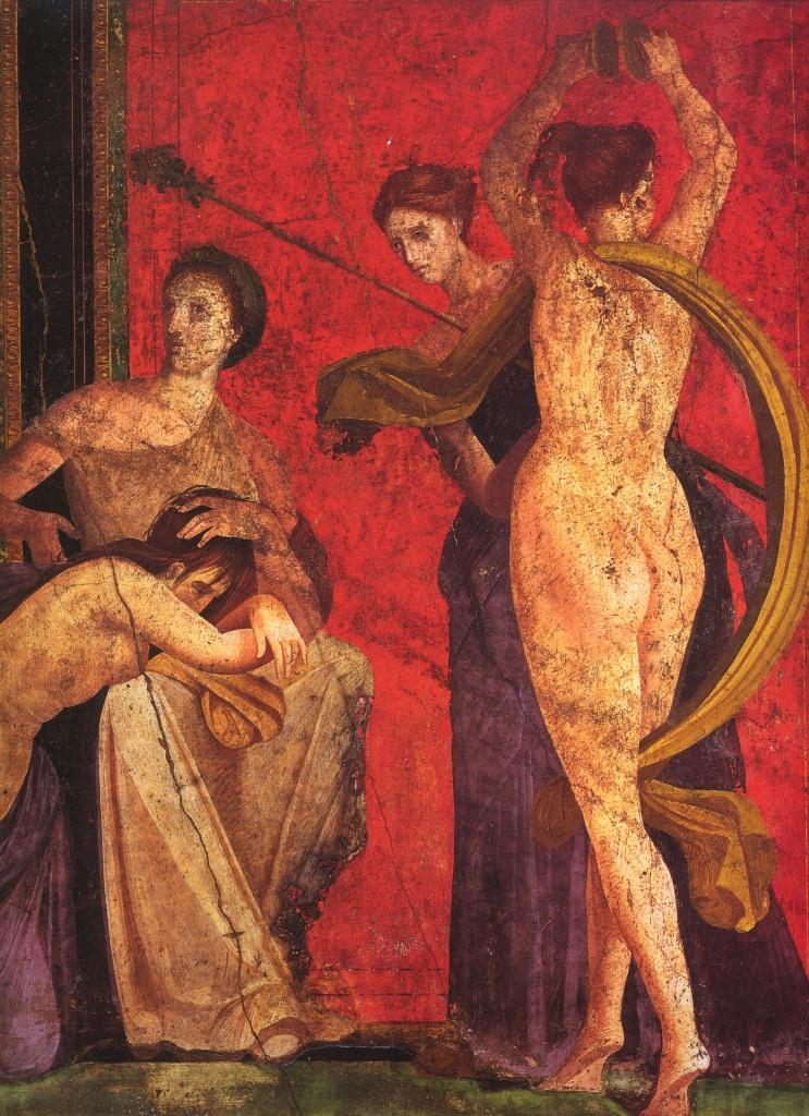 Římská freska z Vily mystérií v Pompejích