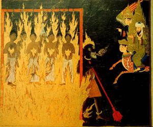 """Prorok Muhammad, jeho létající okřídlený kůň Buraq a archanděl Gabriel jsou na této perské malbě z 15. století zachyceni při návštěvě pekla, kde pozorují potrestání """"nestoudných žen"""" za to, že odhalovaly své vlasy před zraky cizinců."""