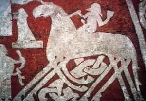 Odin a jeho kůň Sleipnir vjíždí do Vallhally