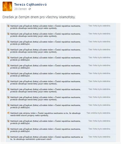 Tereza Cajthamlová se na svém Facebooku chlubí tím, že díky jejímu bonzáctví byli umlčeni kritici náboženství.