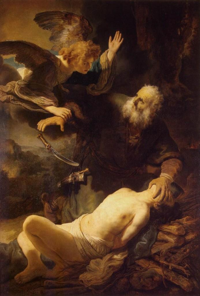 Šílený stařec slyšící v hlavě hlasy se chystá podříznout, vykrvit, rozsekat na kusy a spálit na obětním oltáři vlastního syna - jeden z nejoblíbenějších motivů křesťanského umění. Rembrant - Obětování Izáka